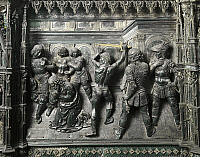 0301198 © Granger - Historical Picture ArchiveFINE ART.   Beheading of John the Baptist, Detail from the relief on the right side of the frontal of the San Giovanni Battista Altar, 1477-1480, by Andrea del Verrocchio (1435-1488), silver and enamel mounted on a wooden support, 31.5 x 42 cm, 29 cm height. Full Credit: DEA / G. NIMATALLAH / Granger, NYC -- All Rights Reserved.