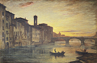 0301220 © Granger - Historical Picture ArchiveFINE ART.   The Arno River and the Holy Trinity Bridge in Florence, by Antonio Fontanesi (1818-1882), Italy 19th Century. Full Credit: DEA / G. NIMATALLAH / Granger, NYC -- All rig