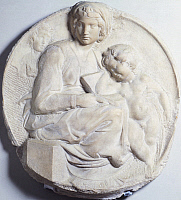 0301347 © Granger - Historical Picture ArchiveFINE ART.   Madonna (Tondo Pitti), 1503-1504, by Michelangelo (1475-1564), marble bas-relief. Full Credit: DEA / G. NIMATALLAH / Granger, NYC -- All rights reserved.