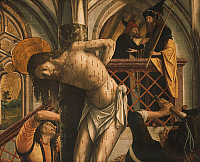 0301363 © Granger - Historical Picture ArchiveFINE ART.   Flagellation of Christ, 1495-1498, by Michael Pacher (died 1498), panel, 113x139 cm. Full Credit: DEA PICTURE LIBRARY / Granger, NYC -- All rights reserved.