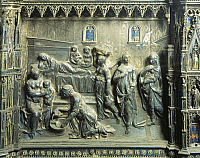 0301384 © Granger - Historical Picture ArchiveFINE ART.   Birth of St John the Baptist, Detail from the relief on the left side of the frontal of the St John Baptist Altar, 1477-1480, by Andrea del Verrocchio (1435-1488), silver and enamel mounted on a wooden support, 31x42 cm, 29 cm height. Full Credit: DEA / G. NIMATALLAH / Granger, NYC -- All Rights Reserved.