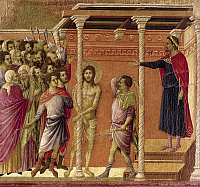 0301620 © Granger - Historical Picture ArchiveFINE ART.   The scourging of Christ, detail of a tile from the Episodes from Christ's Passion and Resurrection, the reverse surface of the Maesta' of Duccio Altarpiece in the Cathedral of Siena, 1308-1311, by Duccio di Buoninsegna (ca 1255 - pre-1319), tempera on wood. Full Credit: DEA / G. NIMATALLAH / Granger, NYC -- All rights reserved.