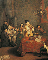 0301718 © Granger - Historical Picture ArchiveFINE ART.   Family concert, by Pietro Longhi (1701-1785). Full Credit: DEA / A. DAGLI ORTI / Granger, NYC -- All rights