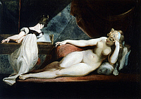 0301771 © Granger - Historical Picture ArchiveFINE ART.   Naked woman and woman playing the piano, 1799-1800, by Johann Heinrich Fussli (1741-1825), oil on canvas, 71x91 cm. Full Credit: DEA PICTURE LIBRARY / Granger, NYC -- All Rights Reserved.
