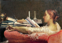 0301844 © Granger - Historical Picture ArchiveFINE ART.   The Reader, 1864, by Federico Faruffini (1831-1869), oil on canvas, 40.5 cm x59. Full Credit: DEA / G. CIGOLINI / Granger, NYC -- All rights reserved.