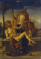 0301943 © Granger - Historical Picture ArchiveFINE ART.   Pieta', ca 1460, by Cosme' Tura (1430-ca 1495), oil on wood, 48x33 cm. Full Credit: DEA / F. FERRUZZI / Granger, NYC -- All Rights Reserved.