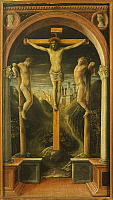 0301947 © Granger - Historical Picture ArchiveFINE ART.   Crucifixion, 1456, by Vincenzo Foppa (ca 1427-ca 1515), tempera on wood, 68x38 cm. Full Credit: DEA / A. DE GREGORIO / Granger, NYC -- All rights reserved.