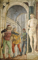 0301948 © Granger - Historical Picture ArchiveFINE ART.   Saint Sebastian, ca 1489, by Vincenzo Foppa (ca 1427-ca 1515), fresco transferred to canvas, 265x170 cm. Full Credit: DEA / G. CIGOLINI / Granger, NYC -- All rights res