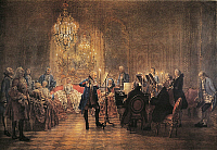 0302120 © Granger - Historical Picture ArchiveFINE ART.   The Flute Concert of Sanssouci, by Adolph Menzel (1815-1905). Full Credit: DEA PICTURE LIBRARY / Granger, NYC -- All Rights Reserved.