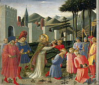 0302144 © Granger - Historical Picture ArchiveFINE ART.   Predella depicting St Nicholas saving three men sentenced to be beheaded, Perugia Altarpiece, 1438, by Giovanni da Fiesole known as Fra Angelico (1400-ca 1455), tempera on wood. Full Credit: DEA / A. DAGLI ORTI / Granger, NYC -- All Rights Reserved.