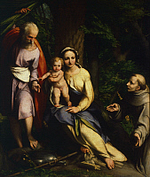 0302234 © Granger - Historical Picture ArchiveFINE ART.   Rest on the Flight into Egypt with St Francis, 1517, by Antonio Allegri, known as Correggio (1489-ca 1534), oil on canvas, 129x106 cm. Full Credit: DEA / G. NIMATALLAH / Granger, NYC -- All rights reserved.