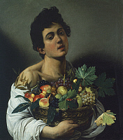 0302294 © Granger - Historical Picture ArchiveFINE ART.   The Fruttaiolo or Boy with a Basket of Fruit, 1593-1594, by Michelangelo Merisi, known as Caravaggio (1571-1610), oil on canvas, 70x67 cm. Detail. Full Credit: DEA / G. NIMATALLAH / Granger, NYC -- All rights reserved.