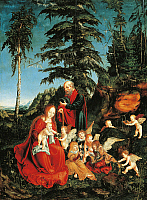 0302360 © Granger - Historical Picture ArchiveFINE ART.   Rest on the flight into Egypt, by Lucas Cranach the Elder (1472-1553). Full Credit: DEA PICTURE LIBRARY / Granger, NYC -- All Rights Reserved.