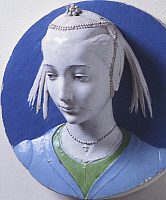 0302634 © Granger - Historical Picture ArchiveFINE ART.   Bust of a young girl, by Andrea della Robbia (1435-1525), glazed ceramic. Full Credit: DEA / G. NIMATALLAH / Granger, NYC -- All rights reserved.