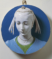 0302636 © Granger - Historical Picture ArchiveFINE ART.   Portrait of a Young Girl, 1465-1470, by Andrea della Robbia (1435-1525). Polychrome glazed earthenware. Full Credit: DEA / G. NIMATALLAH / Granger, NYC -- All rights re