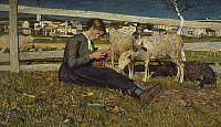 0302650 © Granger - Historical Picture ArchiveFINE ART.   A girl making socks, 1888, by Giovanni Segantini (1858-1899), oil on canvas, 54x88 cm. Full Credit: DEA PICTURE LIBRARY / Granger, NYC -- All rights reserved.
