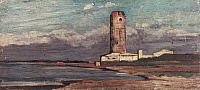 0302657 © Granger - Historical Picture ArchiveFINE ART.   The Tower of Marzocco, or The Red Tower, 1875, by Giovanni Fattori (1825-1908), oil on panel, 14x28 cm. Full Credit: DEA PICTURE LIBRARY / Granger, NYC -- All rights re