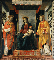 0302678 © Granger - Historical Picture ArchiveFINE ART.   Madonna and Child between St Faustinus and St Jovita, by Vincenzo Foppa (ca 1427-ca 1515). Tempera on canvas, 205x226 cm. Full Credit: DEA / A. DAGLI ORTI / Granger, NYC -- All Rights Reserved.