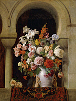 0302680 © Granger - Historical Picture ArchiveFINE ART.   A vase of flowers by the window of the Harem, 1881, by Francesco Hayez (1791-1882), oil on canvas, 125x94 cm, 5. Full Credit: DEA / A. DAGLI ORTI / Granger, NYC -- All Rights Reserved.