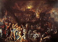0302932 © Granger - Historical Picture ArchiveFINE ART.   The burning of Troy, ca 1604, by Adam Elsheimer (1578-1610). Full Credit: DEA / G. DAGLI ORTI / Granger, NYC -- All Rights Reserved.