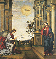 0303033 © Granger - Historical Picture ArchiveFINE ART.   The Annunciation, by Francesco Francia (1450-1517), panel transferred onto canvas, 227x237 cm. Full Credit: DEA / G. CIGOLINI / Granger, NYC -- All rights reserved.