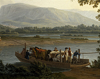 0303050 © Granger - Historical Picture ArchiveFINE ART.   Ferry on the Sele, by Jacob Philipp Hackert (1737-1807). Full Credit: DEA / A. DAGLI ORTI / Granger, NYC -- All Rights Reserved.