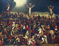 0303328 © Granger - Historical Picture ArchiveFINE ART.   The Calvary, by Frans Francken II (1581-1642), oil on canvas, 72x105 cm. Full Credit: DEA / G. DAGLI ORTI / Granger, NYC -- All rights reserved.