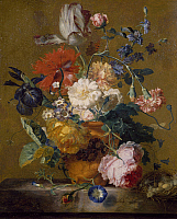 0303579 © Granger - Historical Picture ArchiveFINE ART.   Bouquet of flowers, by Jan van Huysum (1682-1749). Full Credit: DEA / G. DAGLI ORTI / Granger, NYC -- All ri.