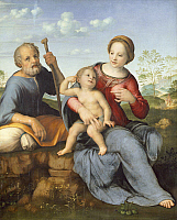 0303634 © Granger - Historical Picture ArchiveFINE ART.   The Holy Family, 1515-1520, by Franciabigio (1484-1525), panel, 108x87 cm. Full Credit: DEA / G. NIMATALLAH / Granger, NYC -- All rights reserved.