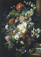 0303656 © Granger - Historical Picture ArchiveFINE ART.   Bouquets of flowers on a black background, by Jan van Huysum (1682-1749). Full Credit: DEA / G. NIMATALLAH / Granger, NYC -- All rights reserved.