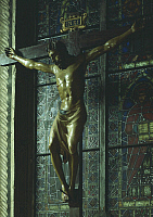 0303721 © Granger - Historical Picture ArchiveFINE ART.   Crucifix, ca 1406-1408, by Donatello (ca 1386-1466), a sculpture in polychrome wood, 168x173 cm. Church of Santa Croce in Florence (UNESCO World Heritage, 1982), Tuscany. Full Credit: DEA / G. NIMATALLAH / Granger, NYC -- All ri.