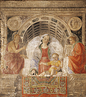 0304187 © Granger - Historical Picture ArchiveFINE ART.   Madonna with Child, St John the Baptist and St John the Evangelist, by Vincenzo Foppa (ca 1427-ca 1515), fresco transferred to canvas, 170x190 cm. Full Credit: DEA / G. CIGOLINI / Granger, NYC -- All rights reserved.