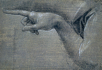 0304579 © Granger - Historical Picture ArchiveFINE ART.   Study for the right hand of an angel, by Leonardo da Vinci (1452-1519), drawing. Full Credit: DEA PICTURE LIBRARY / Granger, NYC -- All rights reserved.