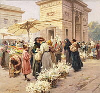 0304672 © Granger - Historical Picture ArchiveFINE ART.   The lily market at Porta Garibaldi in Milan, by Achille Beltrame (1871-1945), from La Domenica del Corriere, Italy 20th Century. Full Credit: DEA / G. CIGOLINI / Granger, NYC -- All Rights Reserved.