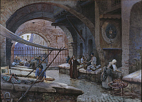 0304739 © Granger - Historical Picture ArchiveFINE ART.   Ettore Roesler Franz (1845-1907). Rome, fishmongers in the Porticus Octaviae. Watercolor. Full Credit: DEA / V. PIROZZI / Granger, NYC -- All rights reserved.