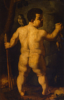 0304787 © Granger - Historical Picture ArchiveFINE ART.   Double portrait of the dwarf Morgante: full view from behind, resembling a fat hunter, by Agnolo Bronzino (1503-1572). Full Credit: DEA / G. NIMATALLAH / Granger, NYC -- All Rights Reserved.