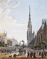 0304916 © Granger - Historical Picture ArchiveFINE ART.   Poland. 19th century. Gdansk, Dlugi Targ (Long Market), the Neptune Fountain and Town Hall Tower. Full Credit: DEA / G. DAGLI ORTI / Granger, NYC -- All rights reserved