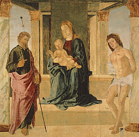 0305111 © Granger - Historical Picture ArchiveFINE ART.   Virgin and Child Enthroned, with St James and St Sebastian, by Lorenzo Costa (ca 1537-1583). Full Credit: DEA / A. DE GREGORIO / Granger, NYC -- All rights reserved.
