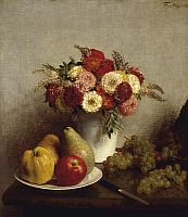 0305264 © Granger - Historical Picture ArchiveFINE ART.   Flowers and fruits, by Henri Fantin-Latour (1836-1904). Full Credit: DEA / G. NIMATALLAH / Granger, NYC -- All Rights Reserved.