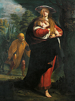 0305319 © Granger - Historical Picture ArchiveFINE ART.   Flight into Egypt, ca 1620, by Giovanni Andrea Ansaldo (1584-1638), oil on canvas, 170x127 cm. Full Credit: DEA PICTURE LIBRARY / Granger, NYC -- All rights reserved.