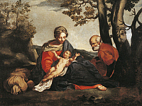 0305472 © Granger - Historical Picture ArchiveFINE ART.   Rest on the Flight into Egypt by Annibale Carracci (1560-1609). Full Credit: DEA / A. DE GREGORIO / Granger, NYC -- All Rights Reserved.