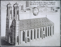 0305548 © Granger - Historical Picture ArchiveFINE ART.   The Frauenkirche (Church of Our Lady) in Munich, 1701, by Michael Wening, Germany 18th Century. Engraving. Full Credit: DEA / G. DAGLI ORTI / Granger, NYC -- All rights