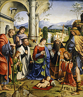 0305678 © Granger - Historical Picture ArchiveFINE ART.   Bentivoglio Altarpiece, 1499, by Francesco Francia (1450-1517). Full Credit: DEA / G. DAGLI ORTI / Granger, NYC -- All Rights Reserved.