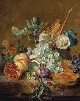 0305802 © Granger - Historical Picture ArchiveFINE ART.   Still life with flowers and fruit, by Jan van Huysum (1682-1749), oil on canvas. Full Credit: DEA / G. DAGLI ORTI / Granger, NYC -- All rights reserved.