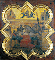 0305827 © Granger - Historical Picture ArchiveFINE ART.   Death of St Francis, 1330-1340, by Taddeo Gaddi (active 1322-1366). Tile from a cupboard in the sacristy of the Basilica of Santa Croce, Florence. Full Credit: DEA / G. NIMATALLAH / Granger, NYC -- All rights reserved.