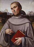 0305858 © Granger - Historical Picture ArchiveFINE ART.   St Francisco, ca 1500, by Francesco Francia (ca 1450-1517), panel, 55x45 cm. Full Credit: DEA / M. CARRIERI / Granger, NYC -- All rights reserved.