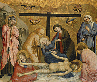 0305860 © Granger - Historical Picture ArchiveFINE ART.   Crying over the body of Christ, by the Master of the Fogg Pieta (14th century). Full Credit: DEA PICTURE LIBRARY / Granger, NYC -- All rights reserved.