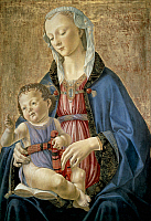0305973 © Granger - Historical Picture ArchiveFINE ART.   Madonna and Child, 1470-1475, by Domenico Ghirlandaio (1449-1494), tempera on wood transferred on cardboard, 70.8 x 48 cm, 9. Full Credit: DEA PICTURE LIBRARY / Granger, NYC -- All Rights Reserved.