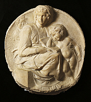 0306042 © Granger - Historical Picture ArchiveFINE ART.   Madonna (Tondo Pitti), 1501, Michelangelo (1475-1564), marble. Full Credit: DEA / G. NIMATALLAH / Granger, NYC -- All Rights Reserved.