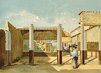 0306170 © Granger - Historical Picture ArchiveFINE ART.   House in Pompeii, by Fausto and Felice Niccolini, from Pompeii, Volume IV, Supplement, Plate XXXIV, Italy 19th Century. Full Credit: DEA / G. DAGLI ORTI / Granger, NYC -- All Rights Reserved.